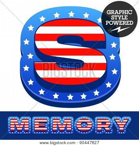 Vector set of american flag stripes and stars alphabet. Letter S