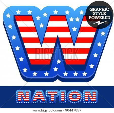 Vector set of american flag stripes and stars alphabet. Letter W