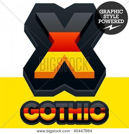 Vector set of Germany flag 3D alphabet. Letter  X