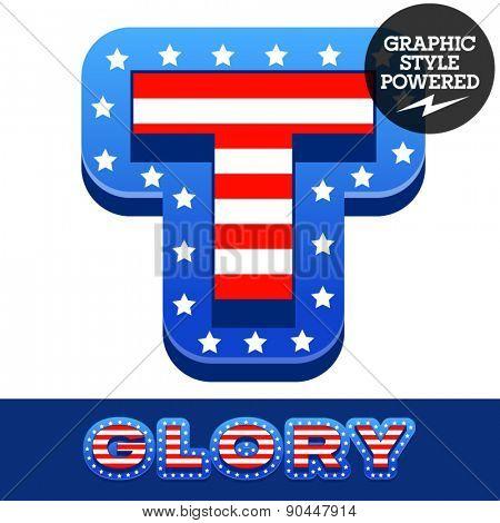 Vector set of american flag stripes and stars alphabet. Letter T