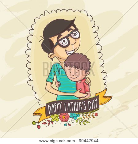 Happy Father's Day celebrations concept with Father and Son hugging to each-other on beige background.