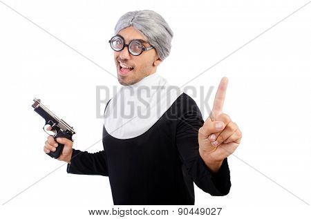 Young man wearing as nun isolated on white
