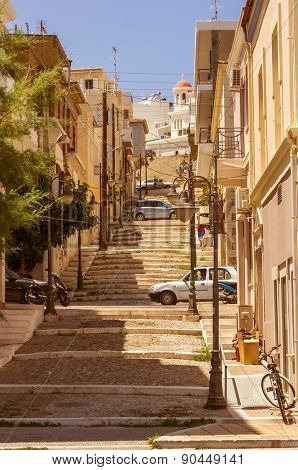 Steep stairs and narrow street in old town