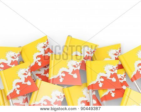 Flag Pin Of Bhutan