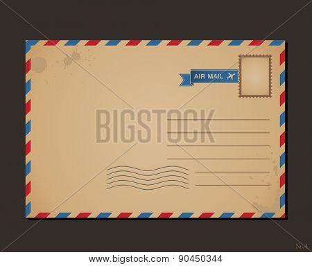 Vintage postcard and postage stamps. Design envelope pattern and letters