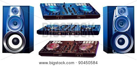 Dj mixers and loud speakers on white background.