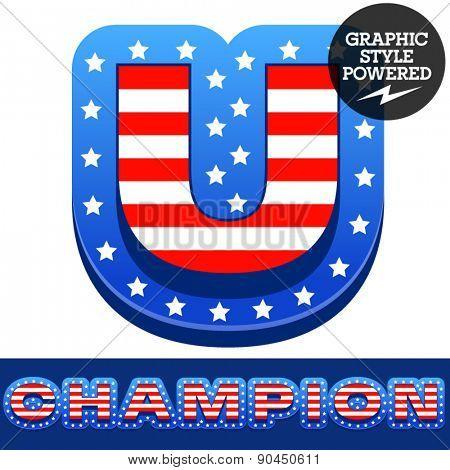 Vector set of american flag stripes and stars alphabet. Letter U