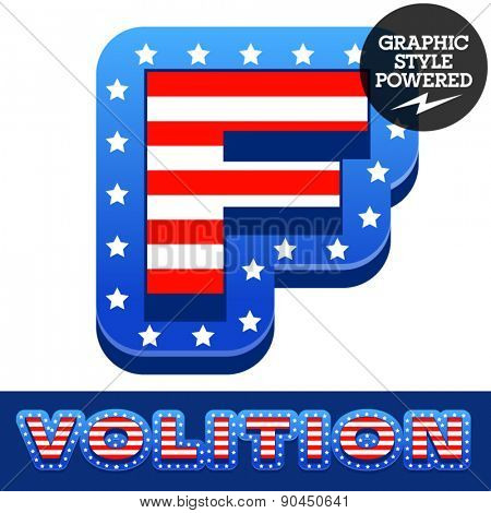 Vector set of american flag stripes and stars alphabet. Letter F