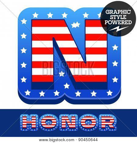 Vector set of american flag stripes and stars alphabet. Letter N