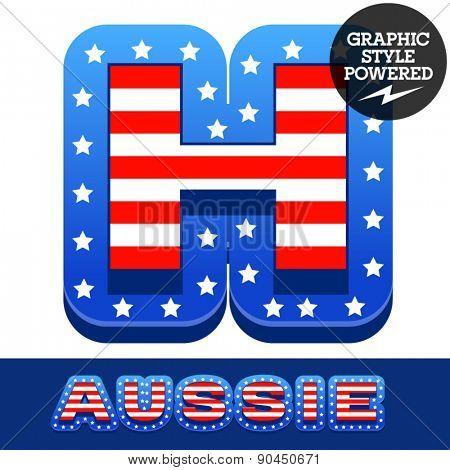 Vector set of american flag stripes and stars alphabet. Letter H