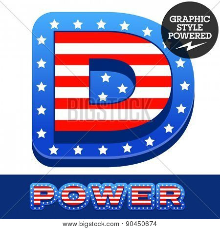 Vector set of american flag stripes and stars alphabet. Letter D