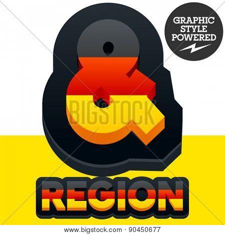 Vector set of Germany flag 3D alphabet. Symbols
