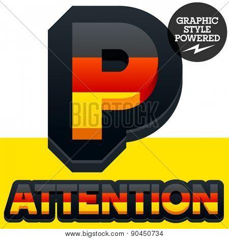 Vector set of Germany flag 3D alphabet. Letter  P