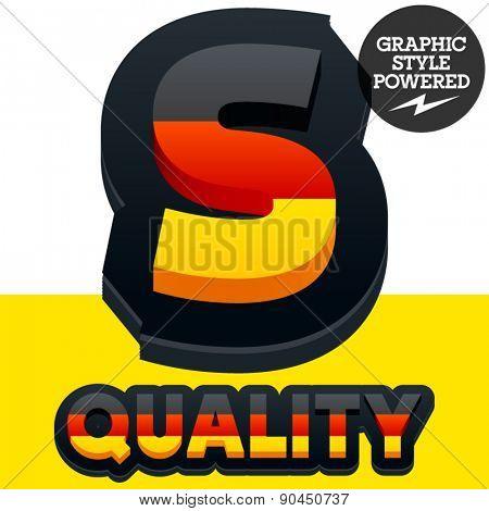 Vector set of Germany flag 3D alphabet. Letter  S