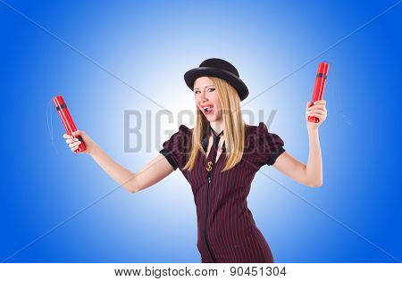 Woman gangster with dynamite sticks on white