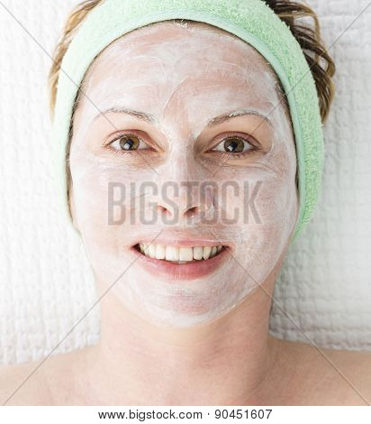 Forty years woman with face mask