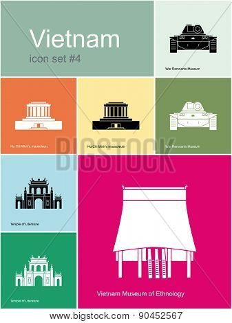 Landmarks of Vietnam. Set of color icons in Metro style. Raster illustration.