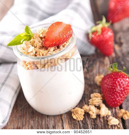 yogurt with muesli and berry