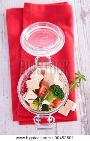 vegetarian food with tofu and broccoli