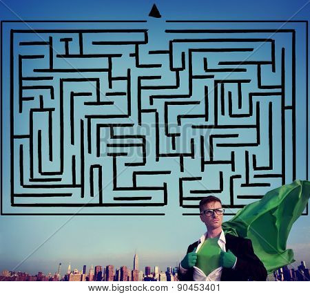 Maze Strategy Success Solution Determination Direction Concept