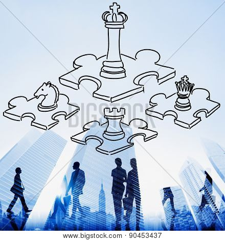 Chess Minded Game Tactics Leadership Strategy Concept