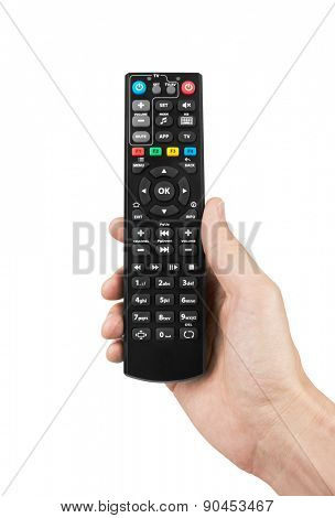 Remote control in hand, isolated on white background
