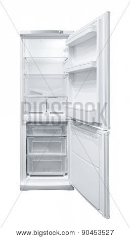 Opened Refrigerator isolated on white background