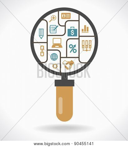 Infographic template with magnifying glass compartments banner. Loupe with compartments and icons on the topic of business. File is saved in AI10 EPS version.