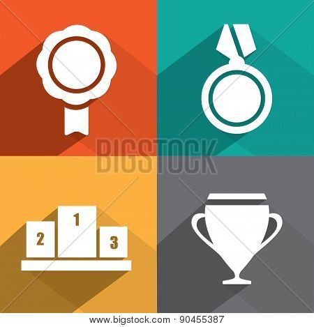 Awards as badges and trophy in flat design style