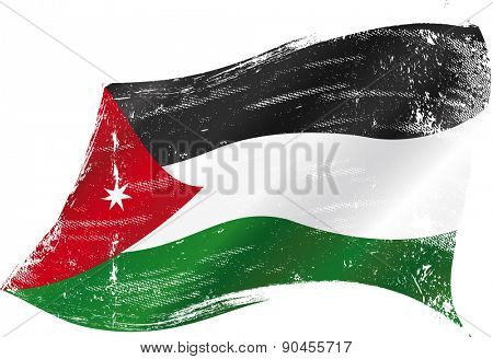 Jordanian grunge flag. A waving flag of Jordan with a grunge texture
