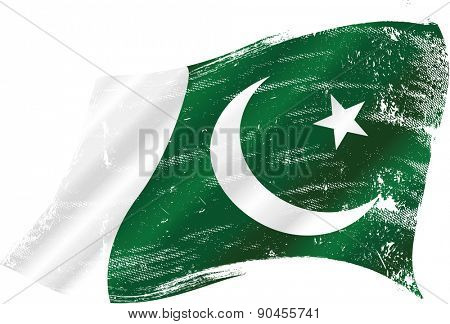 Pakistani grunge flag. Flag of Pakistan in the wind with a texture