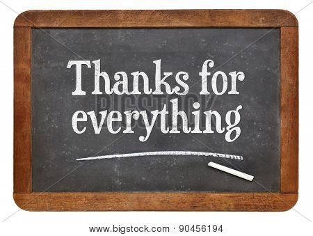Thanks for everything  - text on a vintage slate blackboard