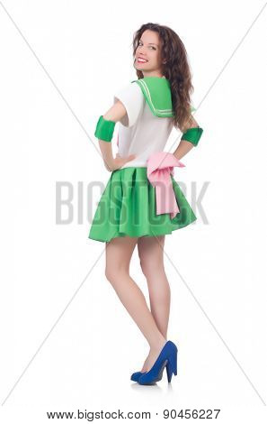 Female model in cosplay costume isolated on white