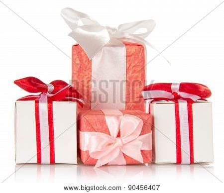 Present gift boxes with ribbons