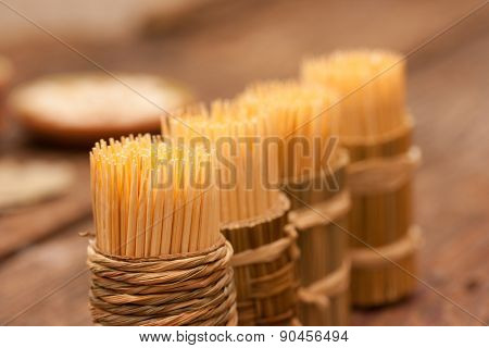 Toothpicks closeup background