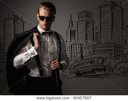 Sharp dressed with bottle of wine against city view drawing