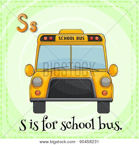 Flashcard letter S is for school bus