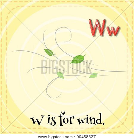 Flashcard letter W is for wind with orange background