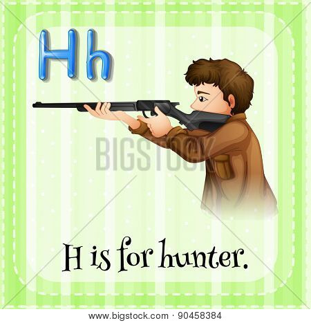 Flashcard letter H is for hunter with green background