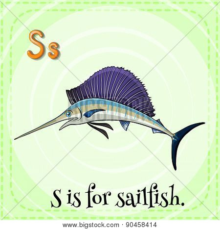 Flashcard letter S is for sailfish with green background