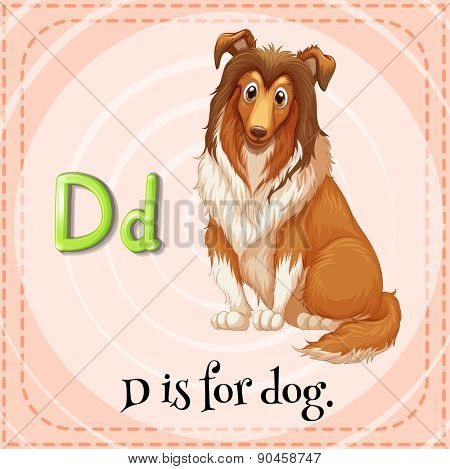 English flashcard letter D is for dog