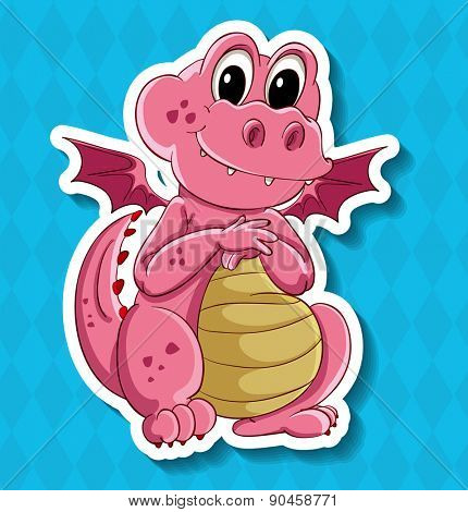 Closeup cute little pink dragon with wings