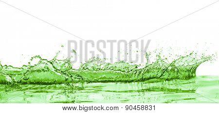 green liquid splash on white background