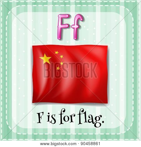 English flashcard letter F is for flag