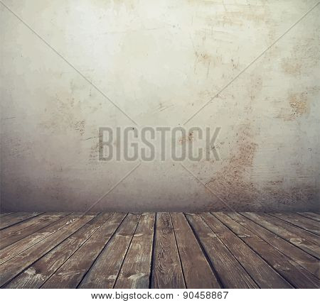 old grunge interior, vintage room, vector