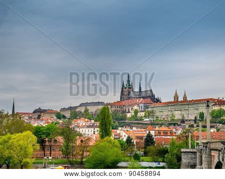 Panoramic view of Charles Bridge and Tower over the Vltava river in Prague,Czech Republic