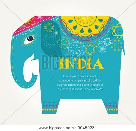 India - background with patterned colorful elephant