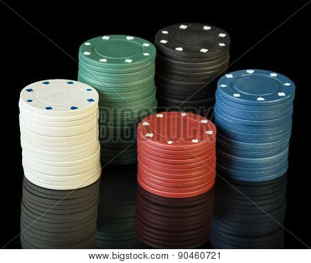 Poker chips on cloth