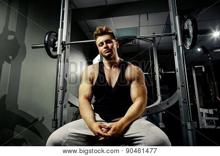 Strong Bodybuilder Athlete In Gym