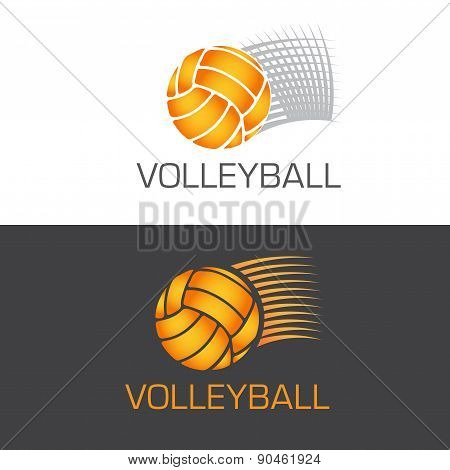 Speeding volleyball logo ball flying through the air with motion lines